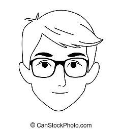 cartoon man with glasses icon, flat design