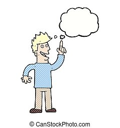 cartoon man with great new idea with thought bubble