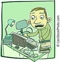 man with messy desk - cartoon man with messy desk.