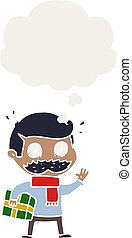 cartoon man with mustache and christmas present and thought...