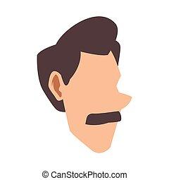 cartoon man with mustache icon