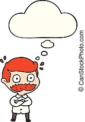 cartoon man with mustache shocked and thought bubble -...