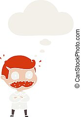 cartoon man with mustache shocked and thought bubble in...