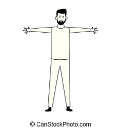 cartoon man with open arms icon, flat design