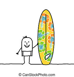 cartoon man with patterned surfboard