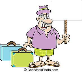 Cartoon man with suitcases holding
