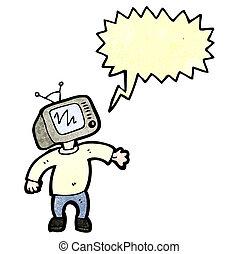 cartoon man with television head