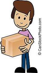 Cartoon man with the box
