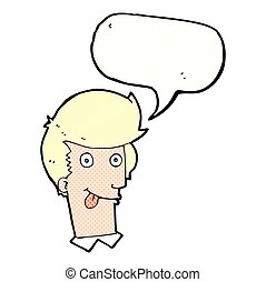 cartoon man with tongue hanging out with speech bubble