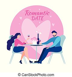 Cartoon Man Woman Cafe Table Romantic Dinner Date