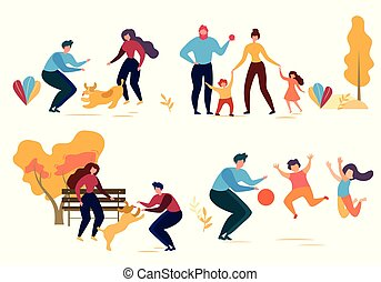 Cartoon Man Woman Dog Family Character in Park