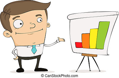 Cartoon manager - Funny cartoon manager pointing to a chart...