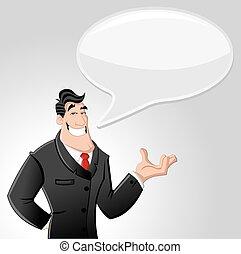 cartoon, mand, firma