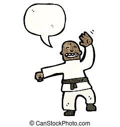 cartoon, mand, foretog, en, karate chop