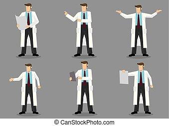 cartoon, mand, ind, længe, hvid coat, vektor, karakter, sæt