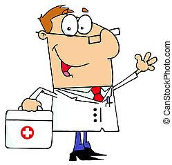 cartoon, mand, kaukasisk, doktor