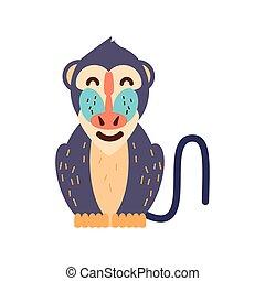 cartoon mandrill baboon