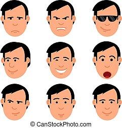 Cartoon man's head set of emoji. Yes, no, joy, shock,...