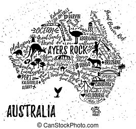 Cartoon map of Australia - Australia map with landscape and...