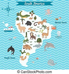 Cartoon map of South America continent with different...