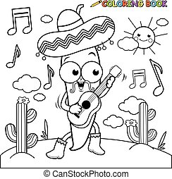 Cartoon mariachi chili pepper with guitar. Black and white coloring page