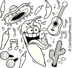 Cartoon mariachi chilli pepper Mexican collection. Vector black and white coloring page.