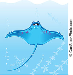 Cartoon marine stingray. Illustration on the background of...