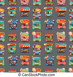 Cartoon market store car seamless pattern