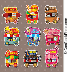 Cartoon market store stickers