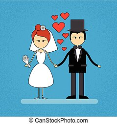 Cartoon Marriage Couple Holding Hands