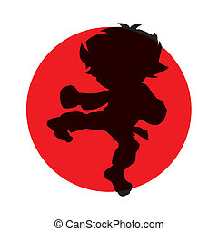 cartoon martial artist - abstract silhouette of martial...