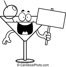 Cartoon Martini Sign