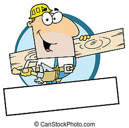 Worker Carrying A Wood Board - Cartoon Mascot-Construction...