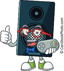 Cartoon mascot design of sound system play a game with controller