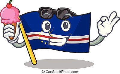 cartoon Mascot featuring flag cape verde with ice cream