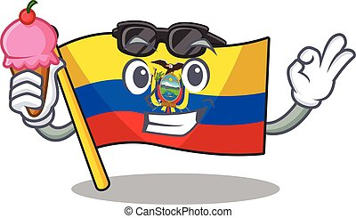 cartoon Mascot featuring flag ecuador with ice cream