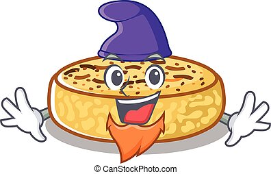 cartoon mascot of funny crumpets dressed as an Elf