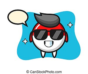 Cartoon mascot of indonesia flag badge with cool gesture