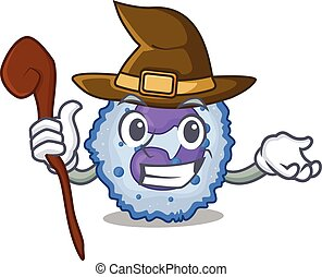 cartoon mascot style of basophil cell dressed as a witch. ...