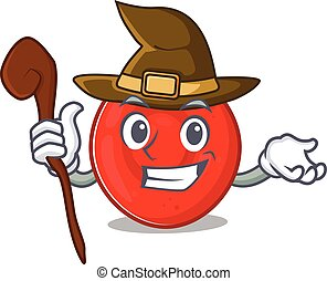 cartoon mascot style of erythrocyte cell dressed as a witch...