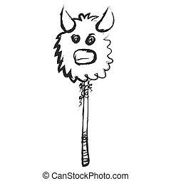 cartoon mask bull, vector