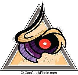 Cartoon Masonic Eye on an white background