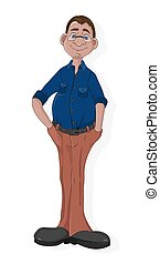 Cartoon mature man with glasses in blue shirt and pants