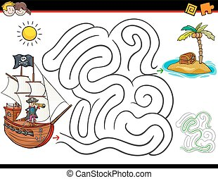 cartoon maze activity with pirate and treasure