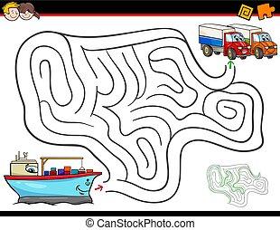 cartoon maze activity with ship and trucks
