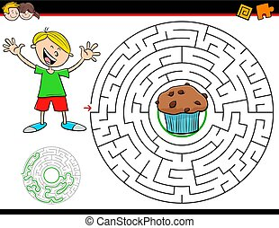 cartoon maze game with boy and muffin