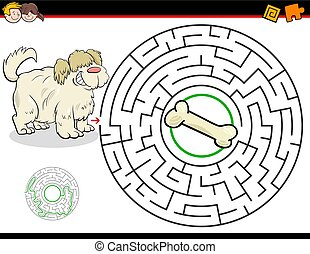 cartoon maze game with dog and bone