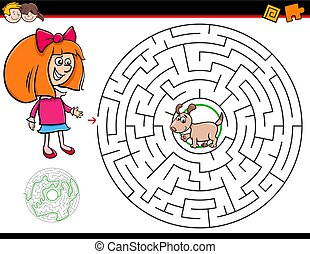 Cartoon Illustration of Education Maze or Labyrinth Activity Game for Children with Girl and Puppy