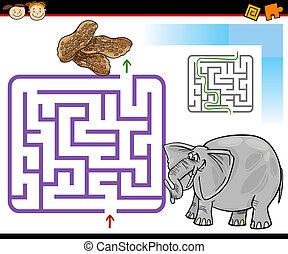 cartoon maze or labyrinth game
