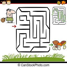cartoon maze or labyrinth game - Cartoon Illustration of...